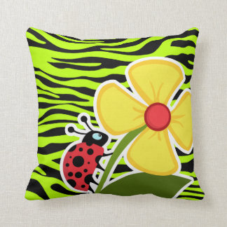 Ladybug on Chartreuse Zebra Stripes Animal Print Cushion