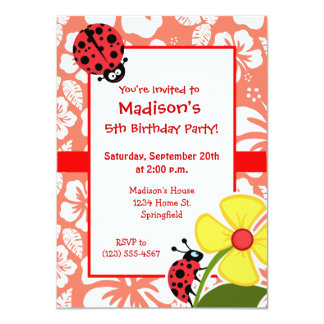 Ladybug on Coral Color Tropical Hibiscus Personalized Announcements