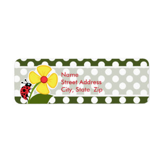 Ladybug on Dark Moss Green Polka Dots Return Address Label