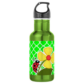 Ladybug on Electric Green Quatrefoil 532 Ml Water Bottle