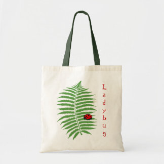 Ladybug on Fern tote bag