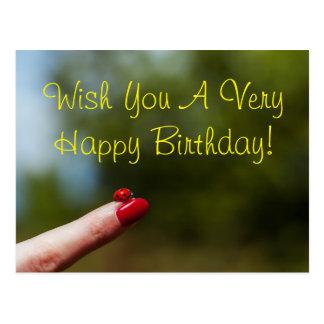 Ladybug on finger happy birthday wish postcard