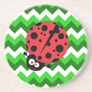 Ladybug on Green Zigzag Coasters