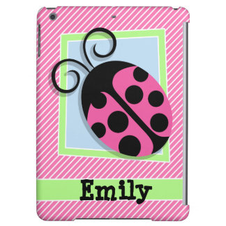Ladybug on Pink & White Stripes