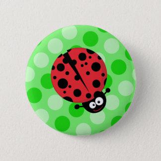 Ladybug on Polka Dots 6 Cm Round Badge