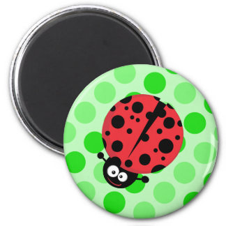 Ladybug on Polka Dots 6 Cm Round Magnet