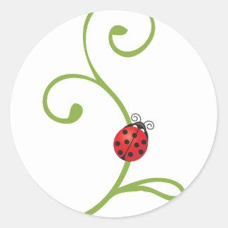Ladybug on Vine Round Sticker