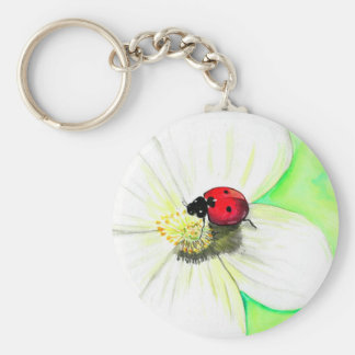Ladybug on White Flower Key Ring