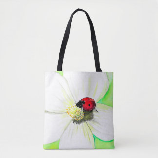 Ladybug on White Flower Tote Bag