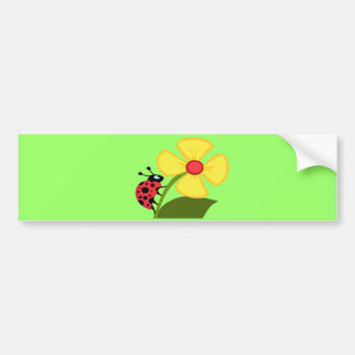 Ladybug on Yellow Flower Bumper Sticker