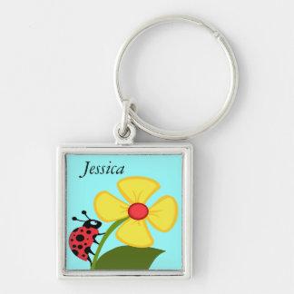 Ladybug on Yellow Flower Key Ring