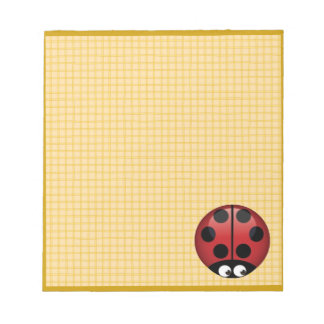 Ladybug on Yellow Plaid Notepad