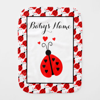 Ladybug Personalized Baby Burp Cloth