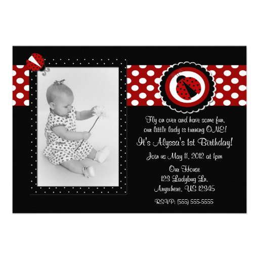 Ladybug Photo Birthday Inviation Personalized Invites