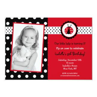 Ladybug Photo Birthday Party Invitations Girl Kids