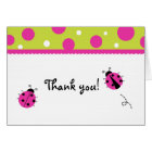 Ladybug Pink Green Folded Thank you note cards