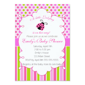 Ladybug Pink Green Girl Baby Shower Invitation
