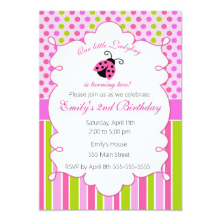 Ladybug Pink Green Girl Birthday Party Invitation