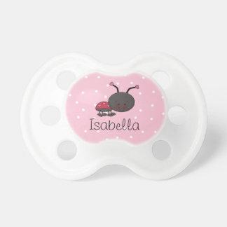 Ladybug Pink Polka Dot Personalized Dummy