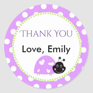 Ladybug Purple Green Gift Favour Label Lavender
