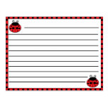 Ladybug Recipe Card Postcards