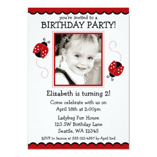 Ladybug Red and Black Photo Birthday Party Card