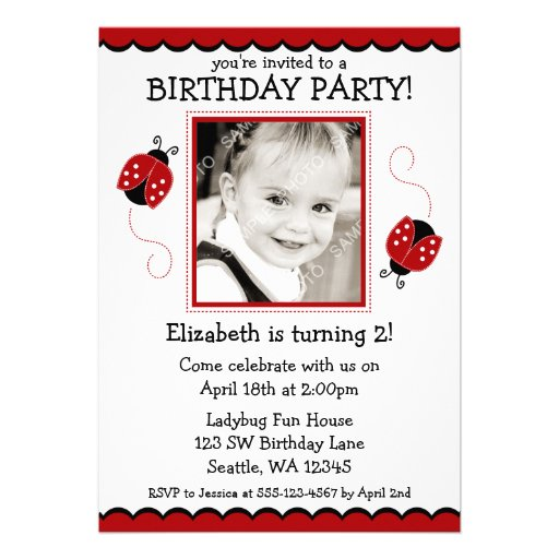 Ladybug Red and Black Photo Birthday Party Personalized Invite