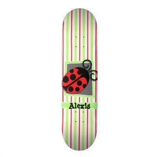 Ladybug; Red and Lime Green Stripes 21.6 Cm Skateboard Deck