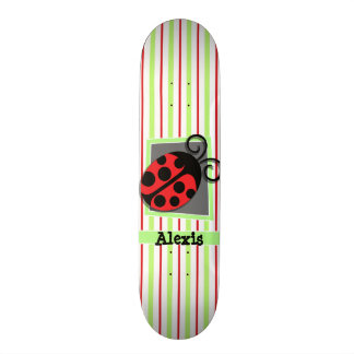 Ladybug; Red and Lime Green Stripes Skate Board Deck