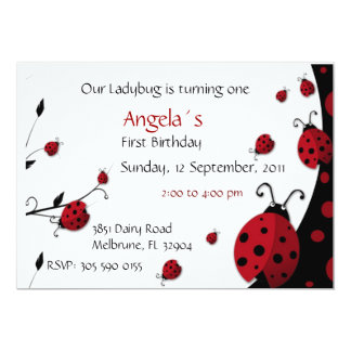 "Ladybug Red Black First Birthday Invitation 5"" X 7"" Invitation Card"