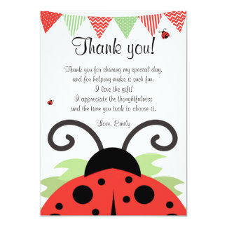 Ladybug Red Black Thank You Card Note 13 Cm X 18 Cm Invitation Card