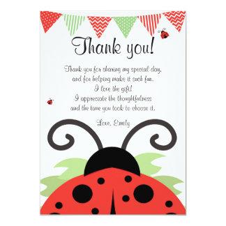 Ladybug Red Black Thank You Card Note 13 Cm X 18 Cm Invitation Card