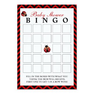 Ladybug Red Chevron Baby Shower Bingo Cards 9 Cm X 13 Cm Invitation Card
