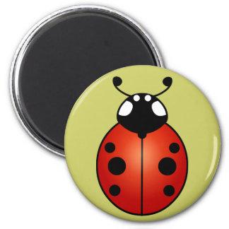 Ladybug Red Orange Black Spots Ladybird Beetle 6 Cm Round Magnet