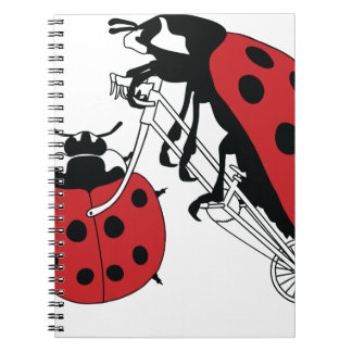 Ladybug Riding Bike With Ladybug Wheel Spiral Notebook