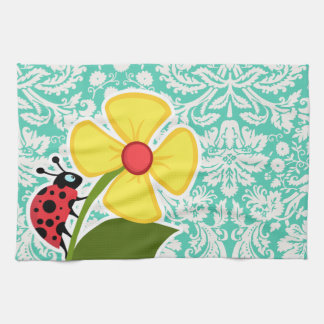 Ladybug; Seafoam Green Damask Tea Towel