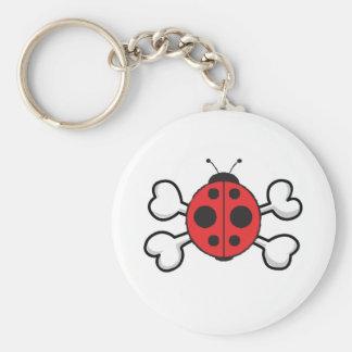ladybug Skull and Crossbones Basic Round Button Key Ring