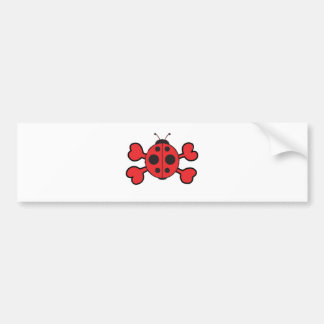 ladybug Skull red Crossbones Bumper Sticker