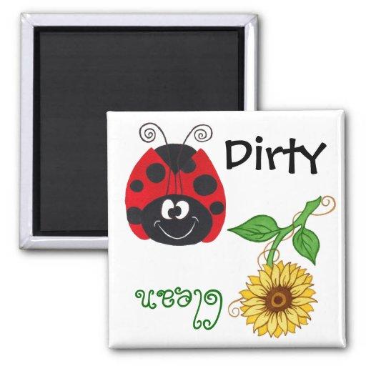 Ladybug & Sunflower (Clean/Dirty)  Dishwash Magnet Magnet