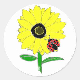 LadyBug & Sunflower Round Sticker