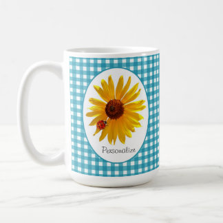 Ladybug Sunflower Turquoise Gingham With Name Coffee Mug
