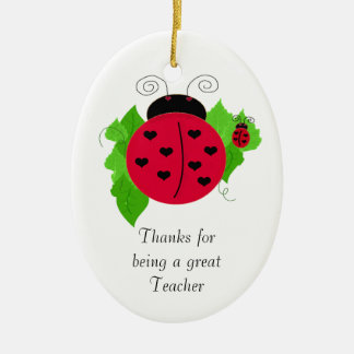 Ladybug Teacher Thanks Ceramic Ornament