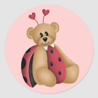 Ladybug Teddy Bear Stickers