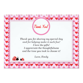 Ladybug Thank You Card Girl Pink Red Hearts 13 Cm X 18 Cm Invitation Card