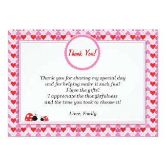 Ladybug Thank You Card Girl Pink Red Hearts 13 Cm X 18 Cm Invitation Card