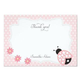 Ladybug Thank You Card (Pink) 9 Cm X 13 Cm Invitation Card
