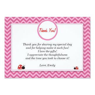 Ladybug Thank You Card Pink Chevron 13 Cm X 18 Cm Invitation Card