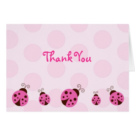 Ladybug Thank You Note Cards Pink Brown