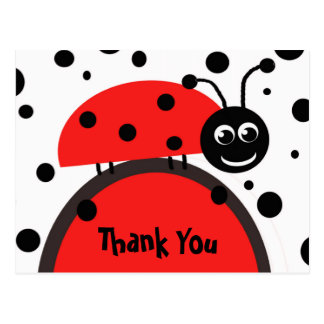 Ladybug Thank You Postcard