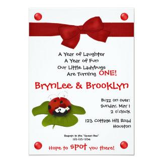 "Ladybug Twins #5 Party Invitation 5"" X 7"" Invitation Card"
